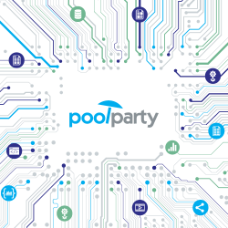 PoolParty logo and data icons in a network