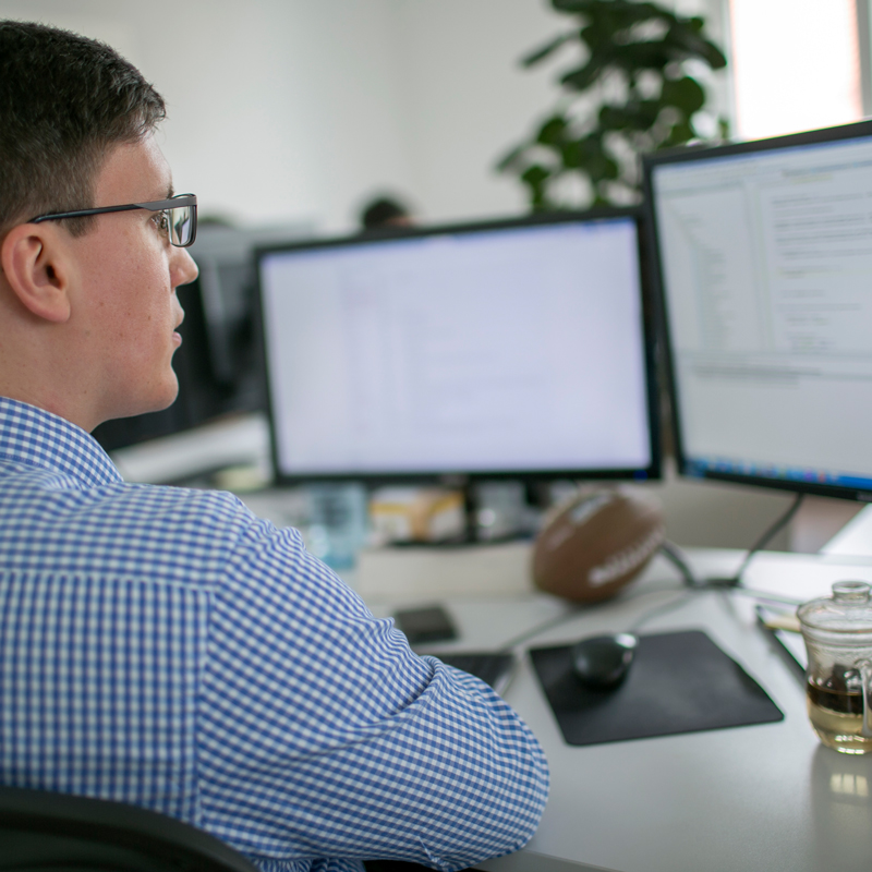 Person looking at computer screen